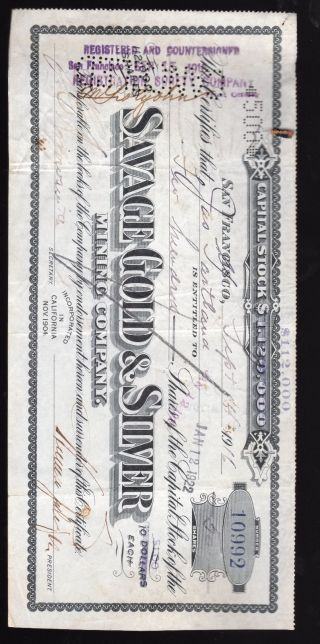 1916 Stock Certificate Savage Gold & Silver San Francisco 1858 - 1959 Existence photo