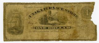 1873 $1 The Unaka Furnace Store - Tennessee Merchants Scrip Note (rare) photo