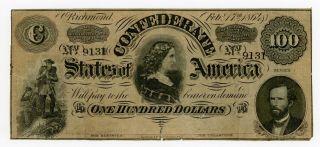 1864 T - 65 $100 The Confederate States Of America Note - Civil War Era photo