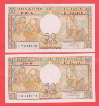 2x50 Francs A/unc Consecutive Numbers Hard To Find photo