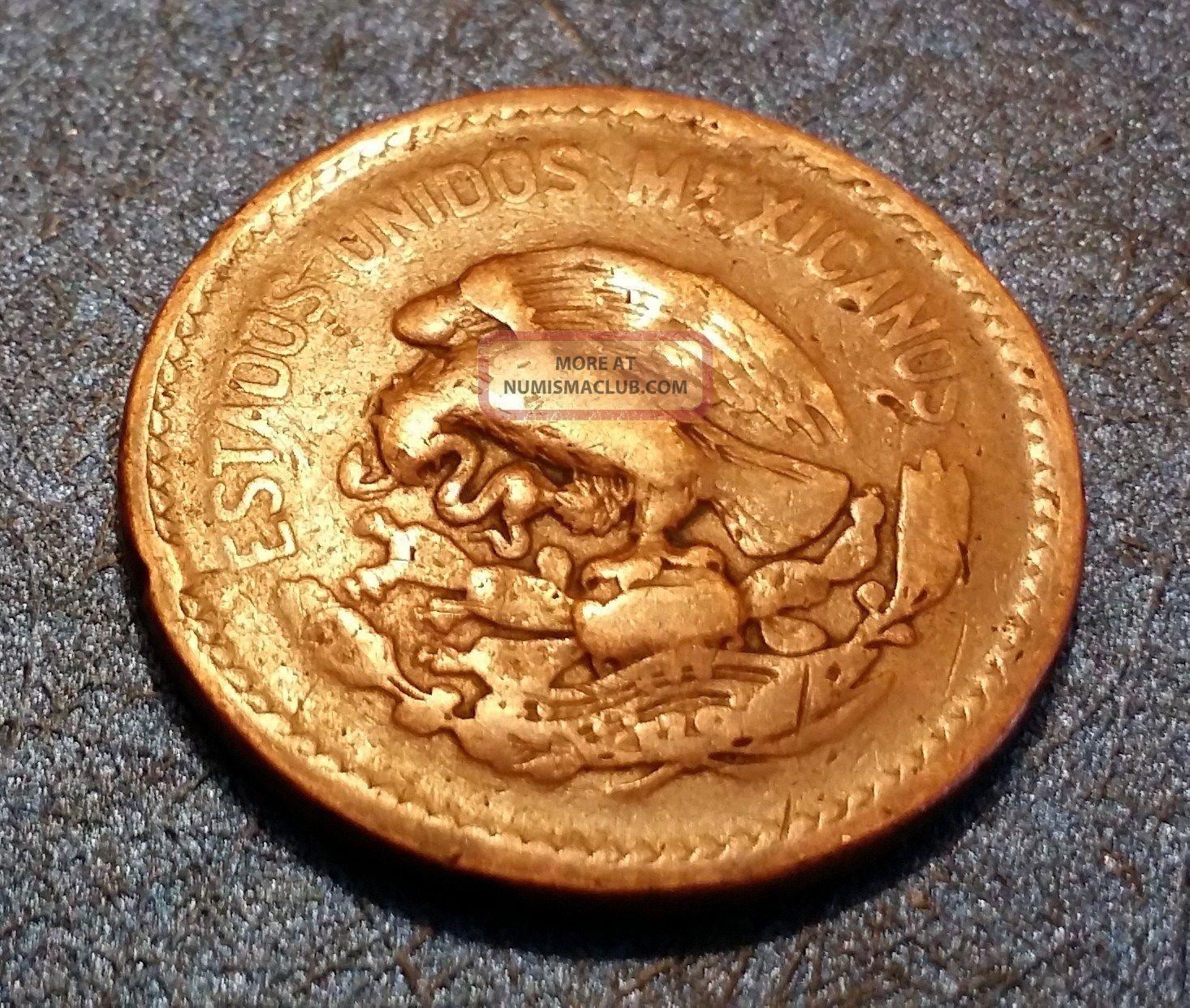 1943 Mexico Twenty Centavos 20c Bronze Circulated