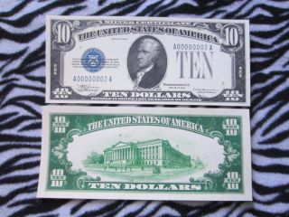Two (2) 1933 $10 Ten Dollars Large Copy Silver Certificate Reprint Reproduction photo