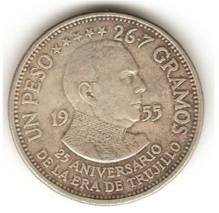 1955 Dominican Republic Silver Coin 1 Peso - Trujillo Pretty - Km 23 - Scarce photo