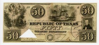 1839 $50 The Republic Of Texas Note photo