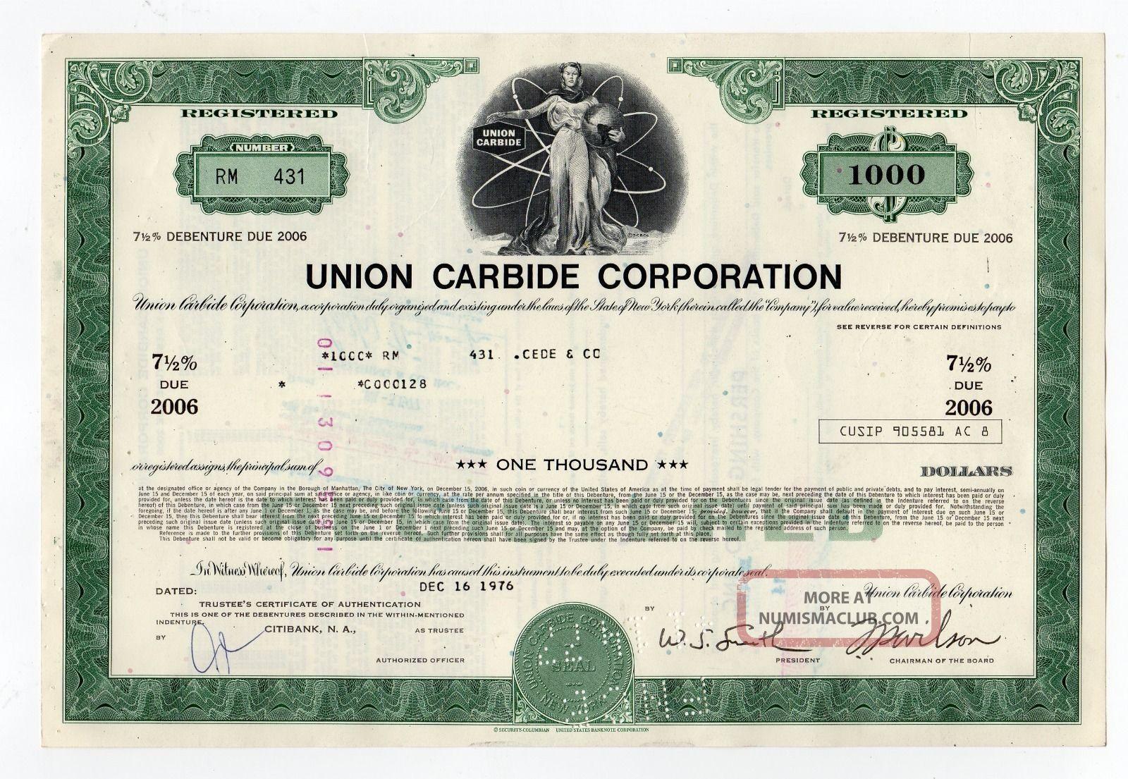 Union Carbide Corporation Stock Certificate Stocks & Bonds, Scripophily photo