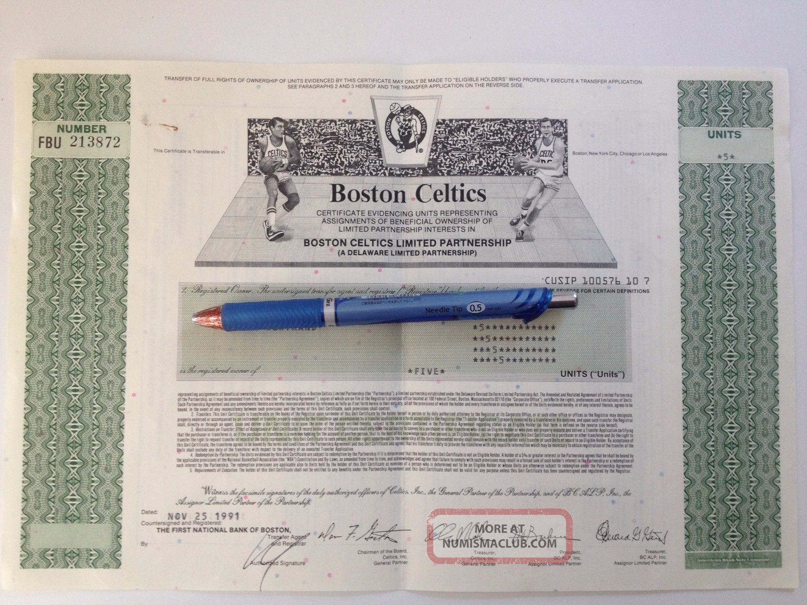 Rare 1991 Boston Celtics Stock Certificate - 5 Shares - With Stocks & Bonds, Scripophily photo