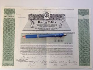 Rare 1991 Boston Celtics Stock Certificate - 5 Shares - With photo