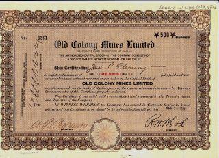 1936 Old Colony Mines Ltd,  Newfoundland Stock Certificate Mining photo