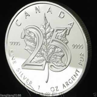 2013 Canadian 1oz Maple Leaf 25th Anniversary Silver Coin.  999 Bu!. photo