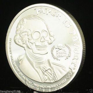 2013 1 Oz.  999 Fine Silver Deluminati Ghost Money George Washington Skull Bu` photo