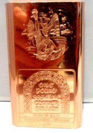 One Yorker Pounder.  999 Copper Bullion Art Bar Ingot Collectibles F/s photo