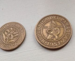 Paraguay 1951 50 Centimos Very Detailed Circulated Coin And 1947 10 Cents.  Lt214 photo