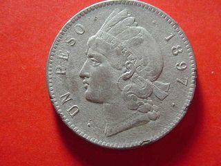 Dominican Republic 1897 Un Peso Silver Coin Almost Uncirculated photo