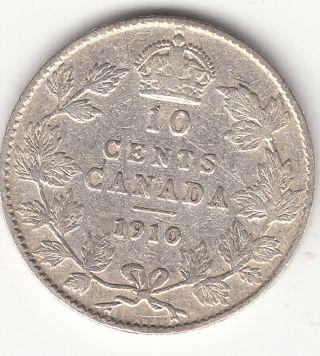 . 925 Silver 1910 Edward Vii 10 Cent Piece Vg 8 photo