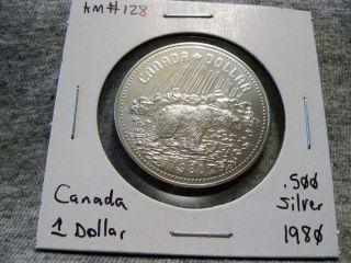 Canada 1 Dollar 1980 Arctic Territories Polar Bear.  500 Silver $1 Km 128 photo