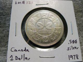 Canada 1 Dollar 1978 Xi Commonwealth Games Edmonton.  500 Silver $1 Km 121 photo