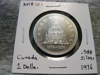 Canada 1 Dollar 1876 - 1976 Parliament Library Centennial.  500 Silver Km 106 photo