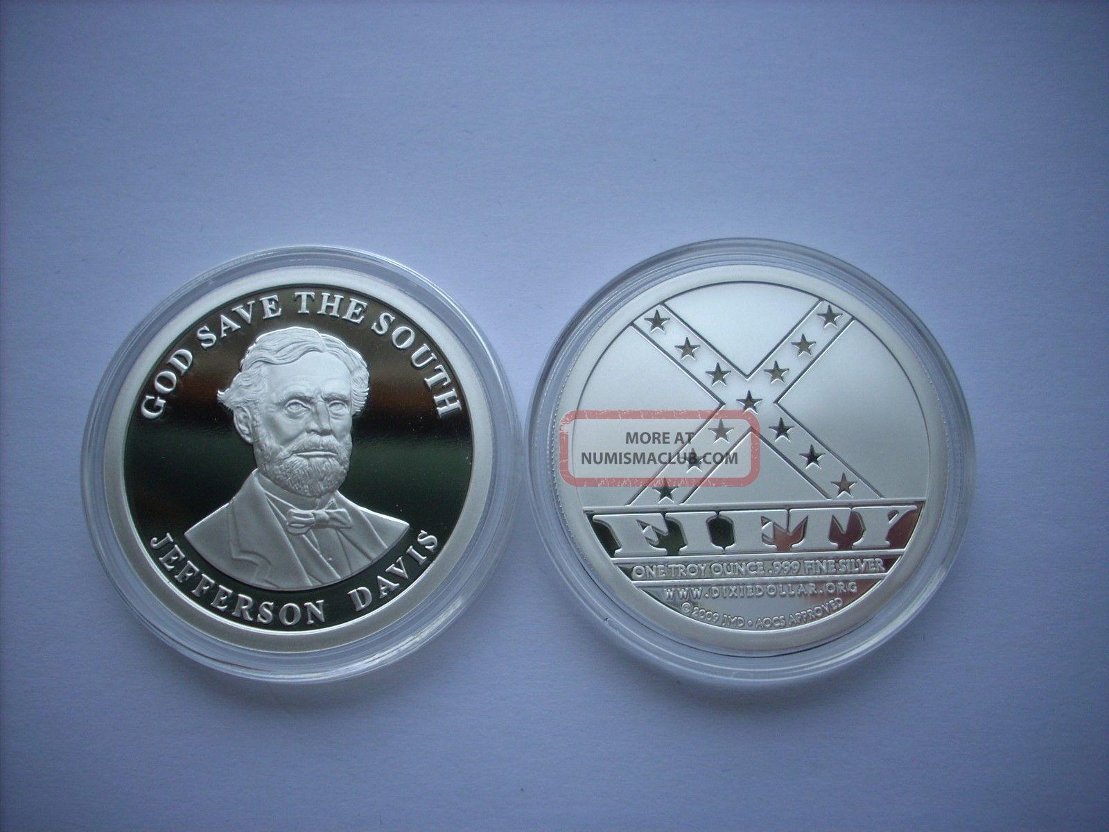 1 Oz Silver Coin Jefferson Davis Dixie Dollar Civil War