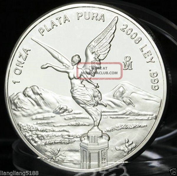 2008 Mexico 1oz Silver Libertad Onza Coin Mexican Bullion.  999 Bu Coins: World photo
