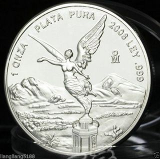 2008 Mexico 1oz Silver Libertad Onza Coin Mexican Bullion.  999 Bu photo