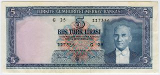Turkey 1961 Issue 5 Lira Very Crisp Note Au.  Pick 173a. photo