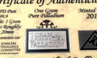 Acb Palladium Pd Precious Metal (1) Gram With /coa 99.  9 Solid Bullion Minted Bar photo