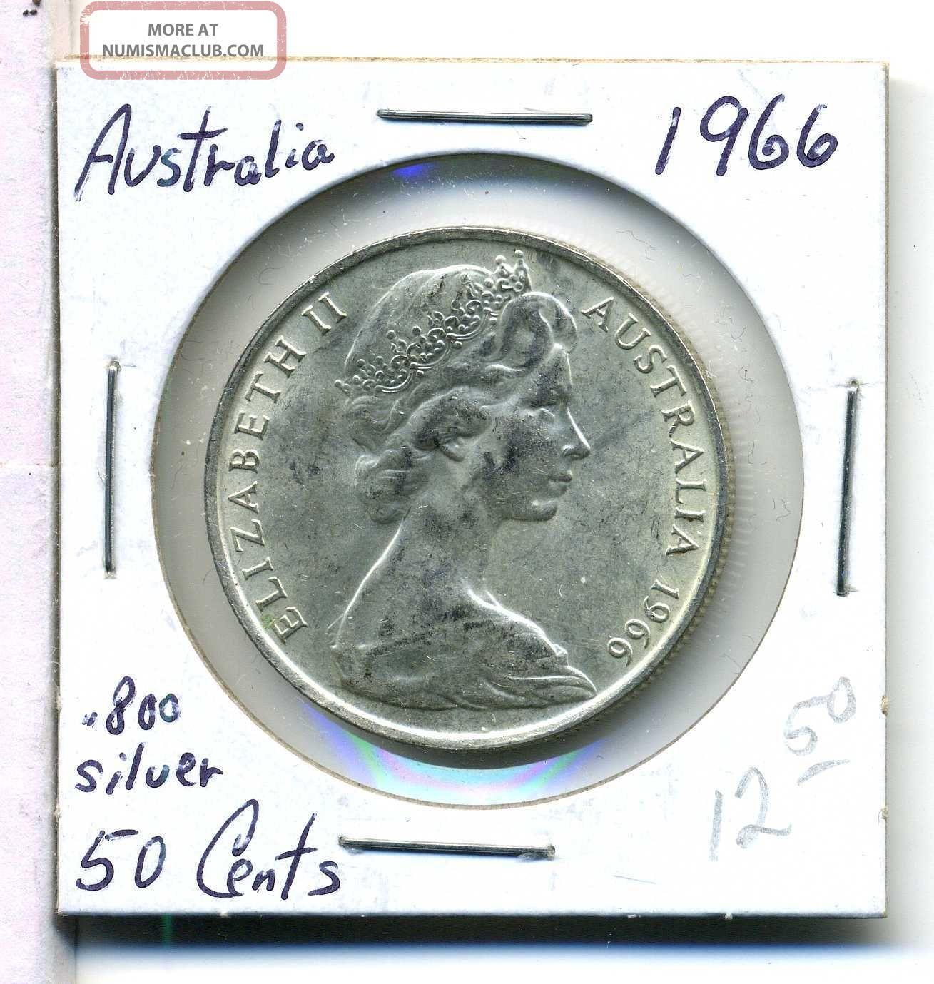Australia 50 Cents 1966 800 Silver Au