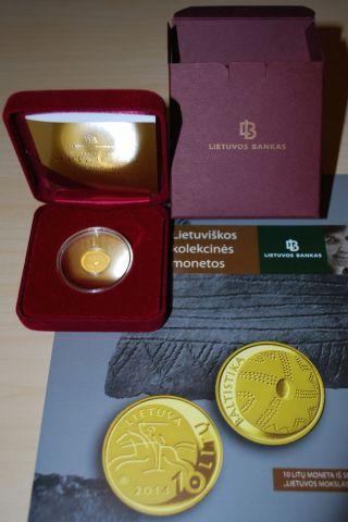 Lithuania Litauen 2014 Gold Proof 10 Litas Coin Baltic Studies.  Lithuanian Scien photo