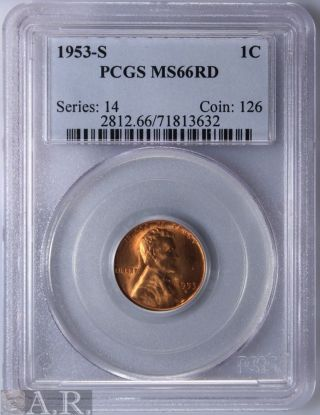 1953 - S Lincoln Wheat Cent Pcgs Ms66 Red photo