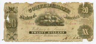 1861 T - 9 $20 The Confederate States Of America Note - Civil War Era photo