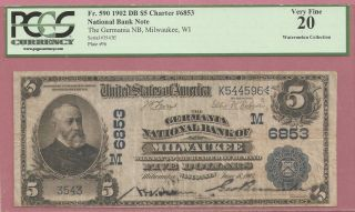 Germania Natl Bk Of Milwaukee,  Wisconsin $5 Date Back photo