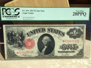 1917 One Dollar Star Legal Tender Note Graded 20 Ppq By Pcgs.  Star photo