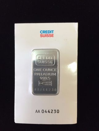 1 Oz Credit Suisse Palladium Bar (w/ Assay).  999,  Fine photo