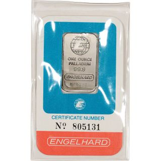 1 Oz.  Palladium Bar - Engelhard - 99.  9 Pure In Vintage Assay photo
