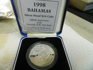 Bahamas Silver Proof $10 Coin - Fiftieth Anniversary Of The Of The Uwest Indie photo