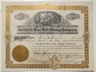 1910 Stock Certificate - Goldfield Blue Bell Mining Co,  Nevada,  Mine Vignette photo
