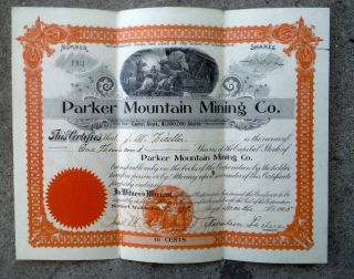 Stock Certificate - - Parker Mountain Mining Co.  - - 1905 - - 1000 Shares photo