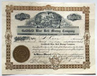 1906 Stock Certificate - Goldfield Blue Bell Mining Co,  Nevada,  Mine Vignette photo