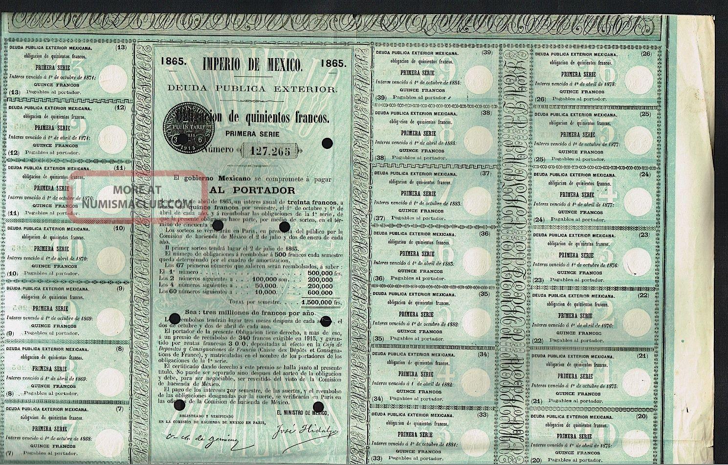 Mexico 1865 Imperio De Mexico Dueda Pública Interior Obligación De 500 Francos Stocks & Bonds, Scripophily photo