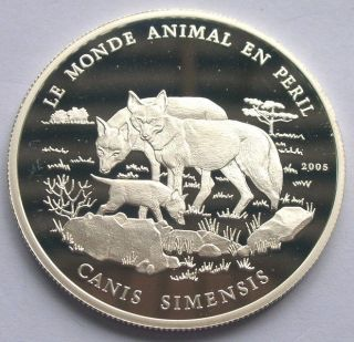 Benin 2005 Wolf 1000 Francs Silver Coin,  Proof photo