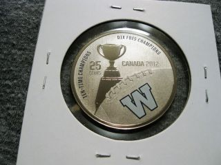 Canada 25 Cents 2012 Winnipeg Blue Bombers Cfl Canadian Football Km 1320 photo