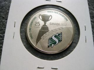 Canada 25 Cents 2012 Saskatchewan Roughriders Cfl Canadian Football Km 1318 photo