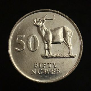 Zambia 50 Ngwee 1992.  Km30.  Uncirculated.  Africa.  Animals (fauna).  Antelopes. photo