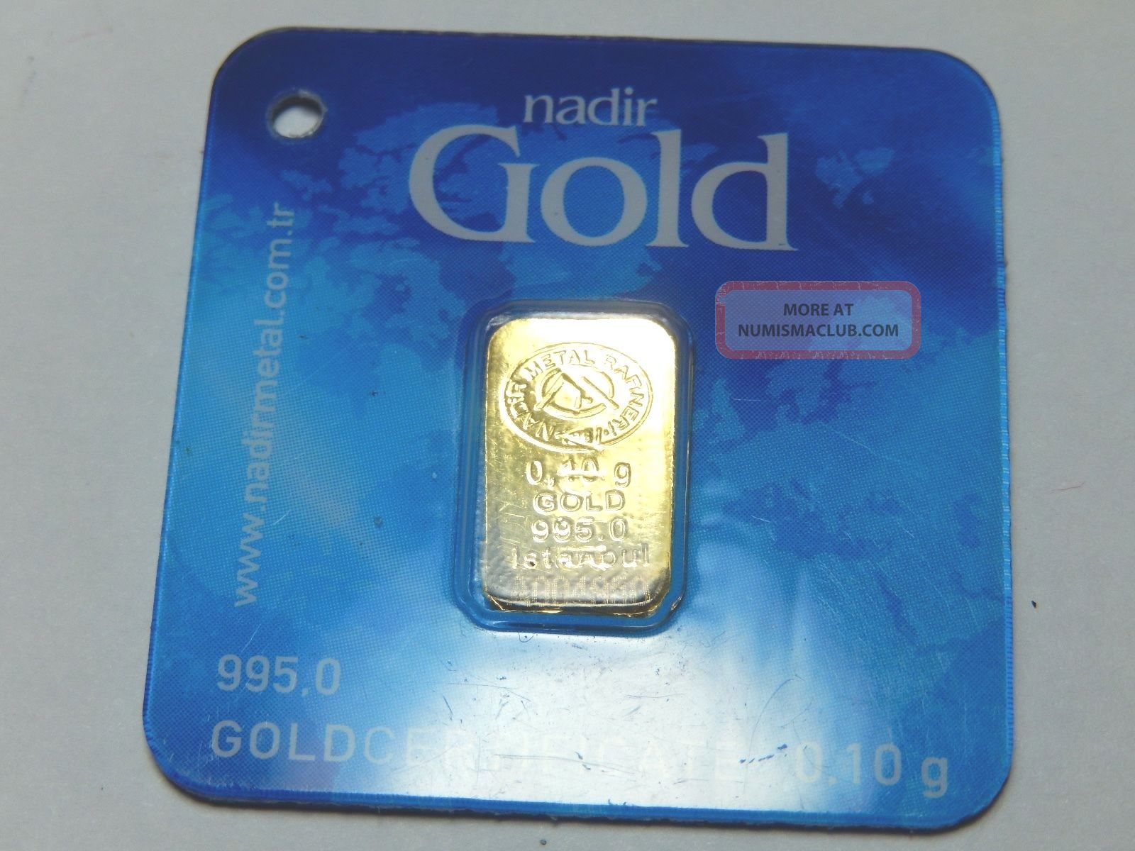 Nadir Gold 0 10 Gram Bar 995 1000 Pure With Assay Card 24k