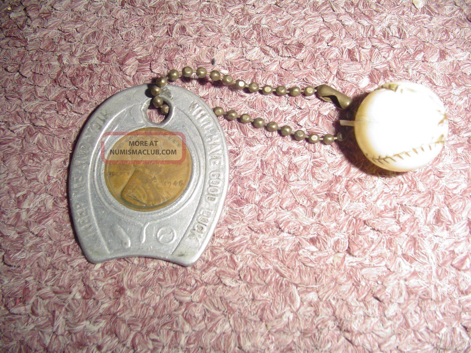 Vintage 1948 Good Luck Keychain With 1948 Wheat Penny And Baseball Charm Exonumia photo
