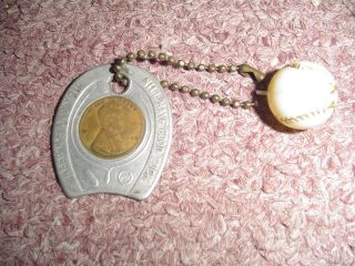 Vintage 1948 Good Luck Keychain With 1948 Wheat Penny And Baseball Charm photo