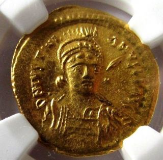 Byzantine Empire,  527 - 565 Ngc Ms Justinian I Ancient Gold,  Military Bust photo