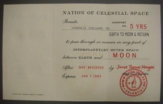 Passport To Moon,  Celestia,  Issued To James H.  Collins,  Jan 1,  1969 photo
