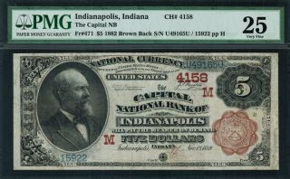 1882 $5 Nbn Indianapolis,  In - Brown Back - Fr.  471 Charter 4158 - Pmg 25 photo