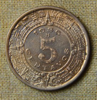 1936 Mexico 5 Centavos - Uncirculated photo